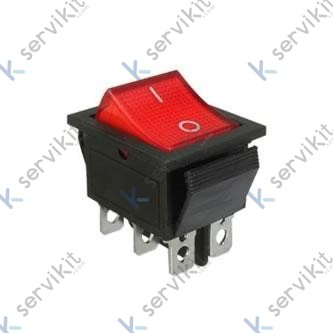 Interruptor luminoso rojo bipolar 30x22mm 16A 230V